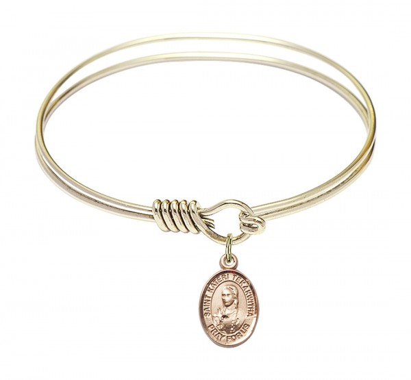 Smooth Bangle Bracelet with a Saint Kateri Tekakwitha Charm - Gold