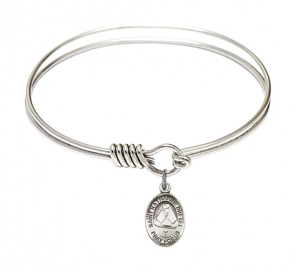 Smooth Bangle Bracelet with a Saint Katharine Drexel Charm - Silver