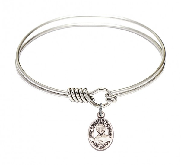 Smooth Bangle Bracelet with a Saint Marcellin Champagnat Charm - Silver