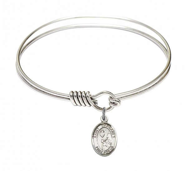 Smooth Bangle Bracelet with a Saint Margaret Mary Alacoque Charm - Silver