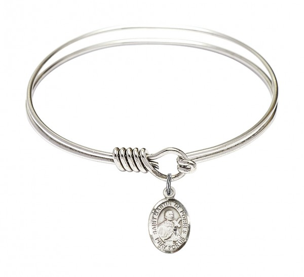 Smooth Bangle Bracelet with a Saint Martin de Porres Charm - Silver