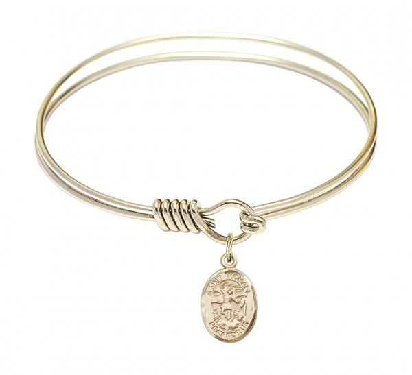Smooth Bangle Bracelet with a Saint Michael the Archangel Charm - Gold