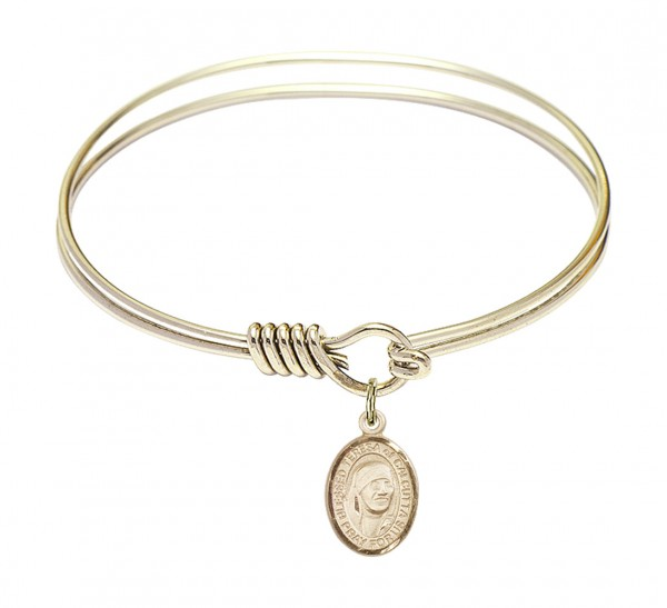 Smooth Bangle Bracelet with a Saint Mother Teresa of Calcutta Charm - Gold