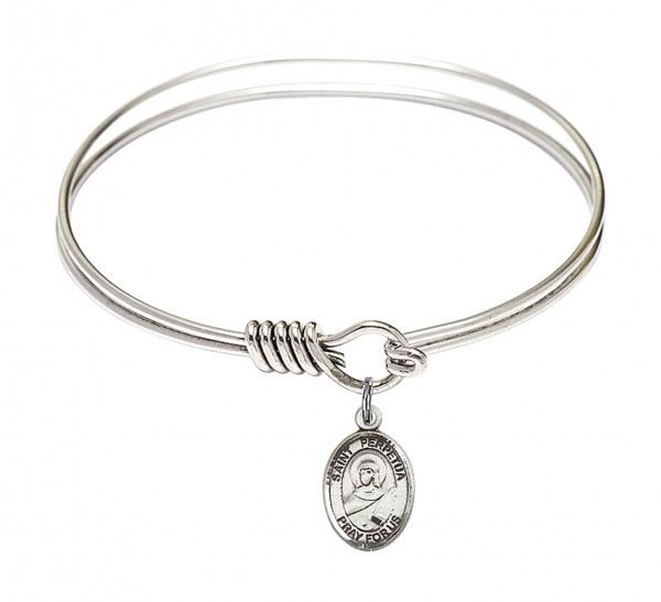 Smooth Bangle Bracelet with a Saint Perpetua Charm - Silver