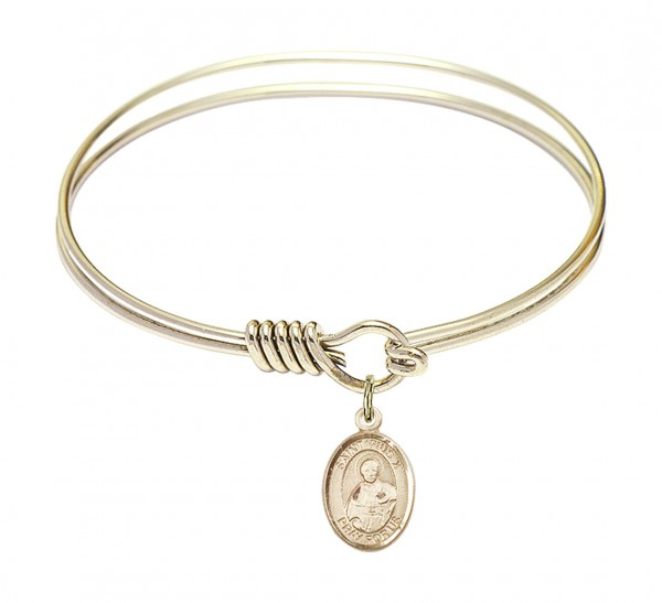 Smooth Bangle Bracelet with a Saint Pius X Charm - Gold