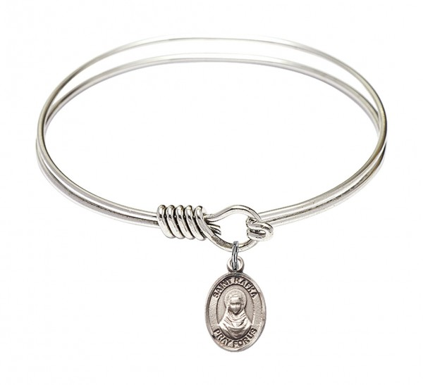 Smooth Bangle Bracelet with a Saint Rafka Charm - Silver
