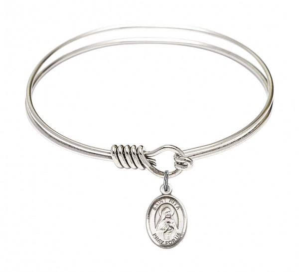 Smooth Bangle Bracelet with a Saint Rita of Cascia Charm - Silver