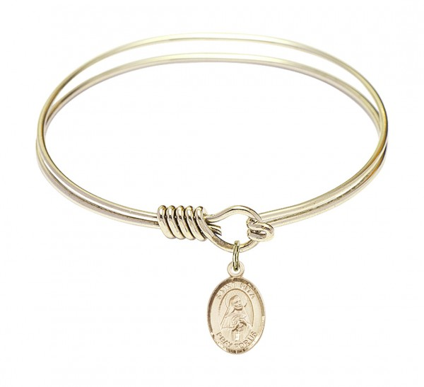 Smooth Bangle Bracelet with a Saint Rita of Cascia Charm - Gold