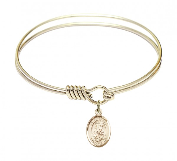 Smooth Bangle Bracelet with a Saint Sarah Charm - Gold
