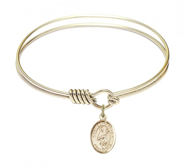 Smooth Bangle Bracelet with a Saint Scholastica Charm - Gold
