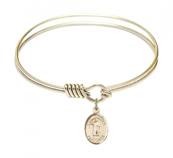 Smooth Bangle Bracelet with a Saint Stephen the Martyr Charm - Gold