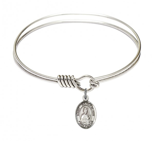 Smooth Bangle Bracelet with a Saint Wenceslaus Charm - Silver