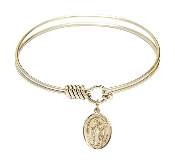 Smooth Bangle Bracelet with a Saint Wolfgang Charm - Gold