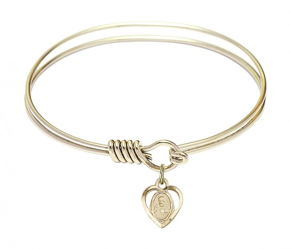 Smooth Bangle Bracelet with a Scapular Charm - Gold