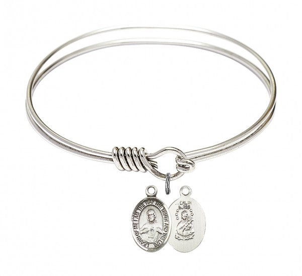 Smooth Bangle Bracelet with a Scapular Charm - Silver