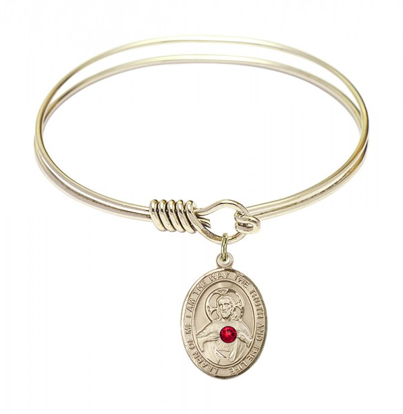 Smooth Bangle Bracelet with a Scapular Charm - Red | Gold