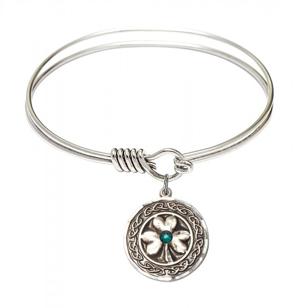 Smooth Bangle Bracelet with a Shamrock with Celtic Border Charm - Green|Silver