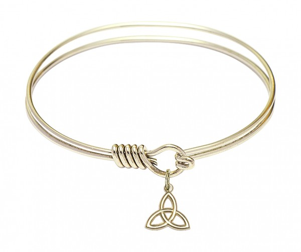 Smooth Bangle Bracelet with a Trinity Irish Knot Charm - Gold