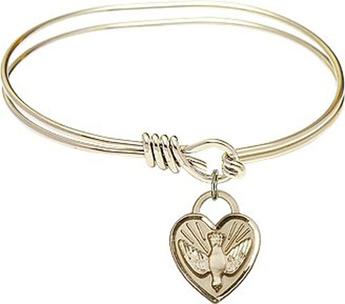 Smooth Bracelet in Silver or Gold - Heart Confirmation Charm - Gold