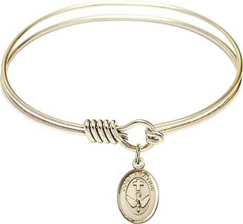 Smooth Bracelet in Silver or Gold - Oval Confirmation Charm - Gold