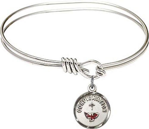 Smooth Bracelet in Silver or Gold - Round Confirmation Charm - Silver