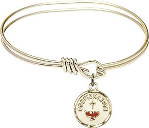 Smooth Bracelet in Silver or Gold - Round Confirmation Charm - Gold