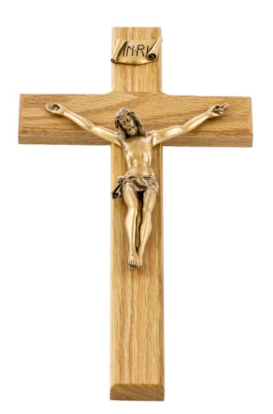 "Smooth Edge Oak Wall Crucifix with Antique Gold Corpus 12"" - Brown"