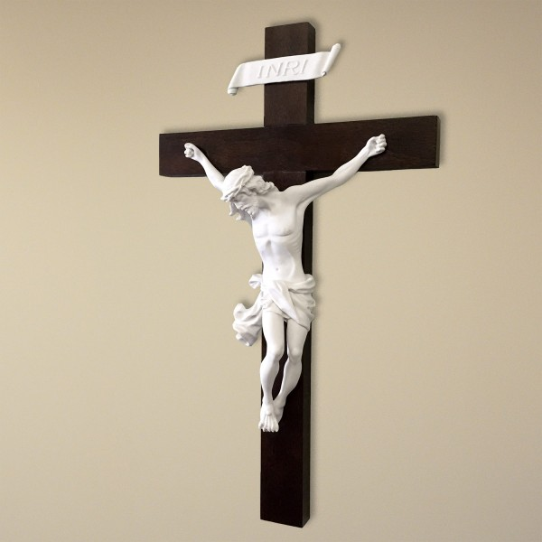 Solid Wood Baroque styled Crucifix - 14 Inches - Brown