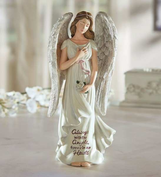 Somber Memorial Angel Figurine 8 Inch High - Full Color