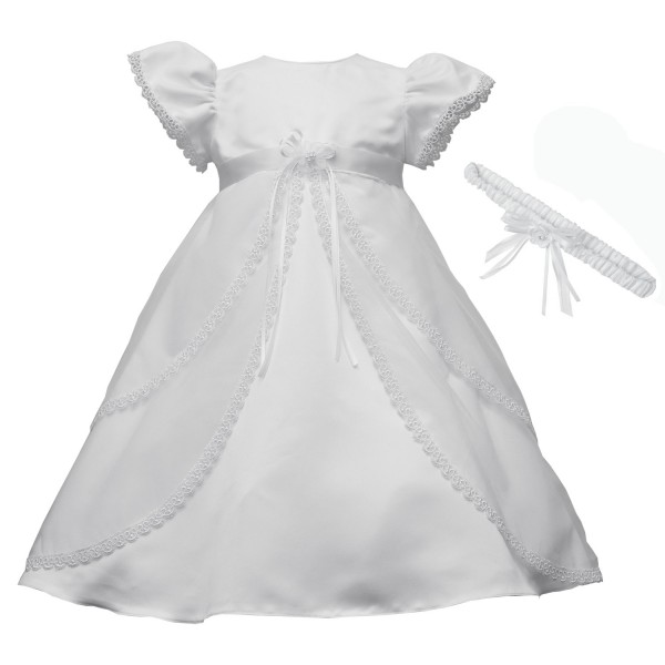 Split Front Venise Trimmed Christening Dress - White