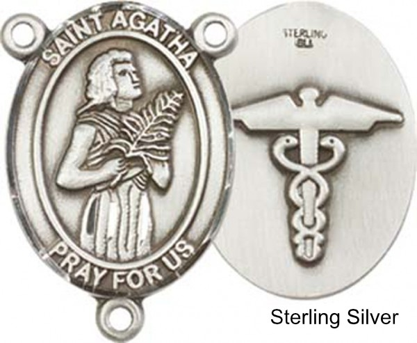 St. Agatha Nurse Rosary Centerpiece Sterling Silver or Pewter - Sterling Silver