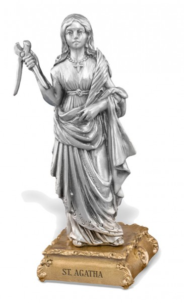 St. Agatha Pewter Statue 4 Inch - Pewter