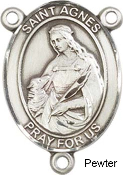 St. Agnes of Rome Rosary Centerpiece Sterling Silver or Pewter - Pewter
