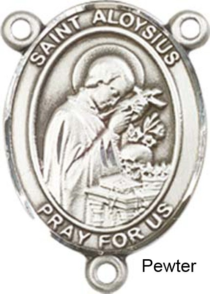 St. Aloysius Gonzaga Rosary Centerpiece Sterling Silver or Pewter - Pewter