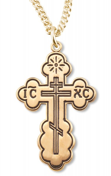 Saint Olga's Orthodox Cross Pendant Gold Plated Sterling Silver - Gold