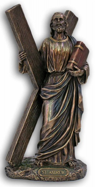 St. Andrew Statue, Bronzed Resin - 8 inches - Bronze