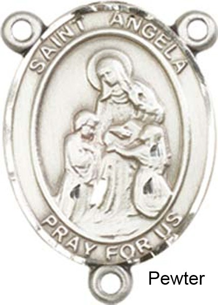 St. Angela Merci Rosary Centerpiece Sterling Silver or Pewter - Pewter