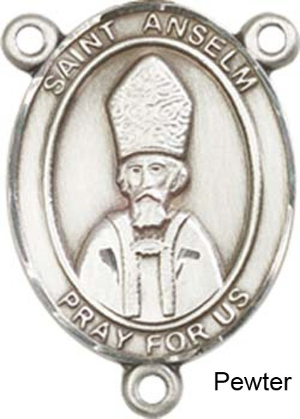 St. Anselm of Canterbury Rosary Centerpiece Sterling Silver or Pewter - Pewter