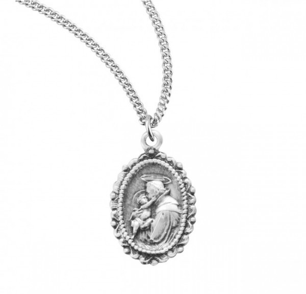 St. Anthony Oval Medal Sterling Silver - Sterling Silver