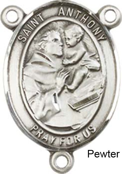 St. Anthony of Padua Rosary Centerpiece Sterling Silver or Pewter - Pewter