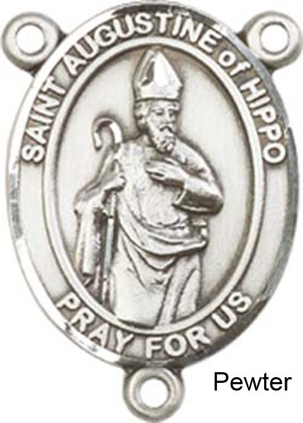 St. Augustine of Hippo Rosary Centerpiece Sterling Silver or Pewter - Pewter