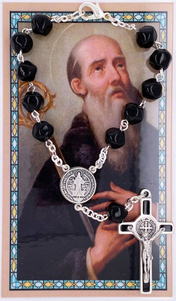 St. Benedict Black Glass Auto Rosary with Prayer Card - Black