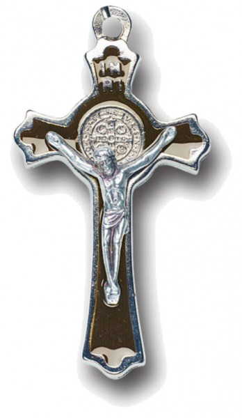 St. Benedict Black Inlay Cross Pendant 2 inch, 3 per order - Black | Silver