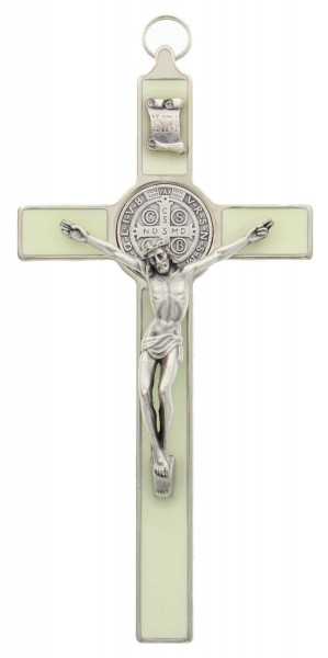 "Glow In the Dark St. Benedict Enamel Crucifix 7.5"" - Silver"