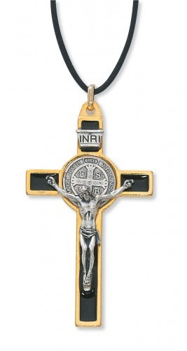 St. Benedict Pendant in Black, 3 inches - Black