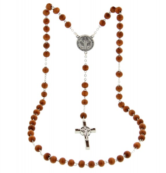 St. Benedict Rosary Light Brown 6mm - Brown | Silver