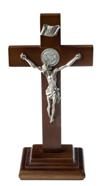 "St. Benedict Standing Crucifix with Two-Side Medallion and Pewter Finish Corpus 9"" - Brown"