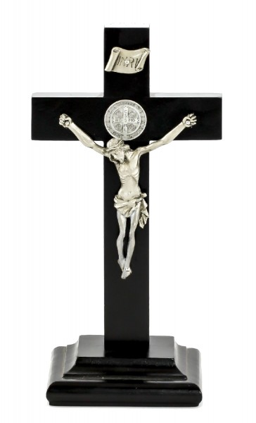 "St. Benedict Standing Crucifix with Two-Sided Medallion in Black Painted Walnut and Pewter Finish Corpus 9"" - Black"