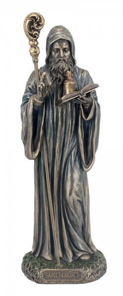 St. Benedict Statue, Bronzed Resin - 8 inches - Bronze