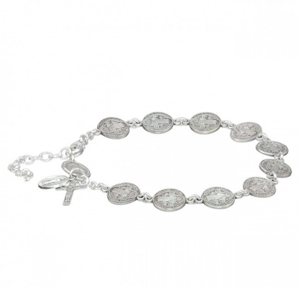 St. Benedict Sterling Silver Rosary Bracelet - Sterling Silver